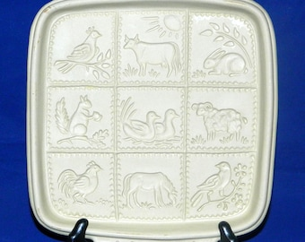Brown Bag Cookie Art Shortbread Mold Country Critters Baking Stoneware CrabbyCats, GC21b
