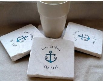 XMASINJULYSale Love Anchors The Soul Coasters - Nautical Home Decor - Absorbent Tile Coasters