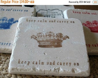 XMASINJULYSale Keep Calm and Carry On Tile Coasters - Office Coasters - Brown Crown Design