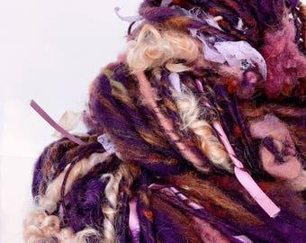 Bella Donna handspun purple art yarn thick and thin