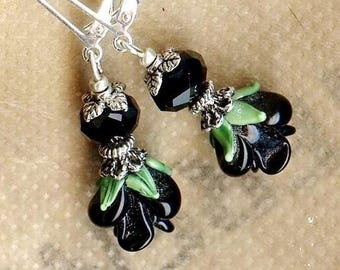 Earrings ✿ ✿ ROSES black crystal lampwork OR409 PICCOLA