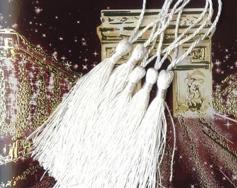 5 x faux silk white 130x10mm MAT2076 TASSELS