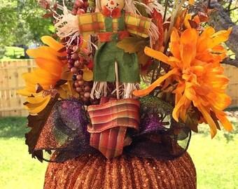 SALE- Pumpkin Scarecrows Fall Floral - Fall Halloween Centerpiece