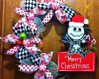 FREE SHIPPING Jack Skellington Nightmare Before Christmas - Welcome Door Grapevine Wreath