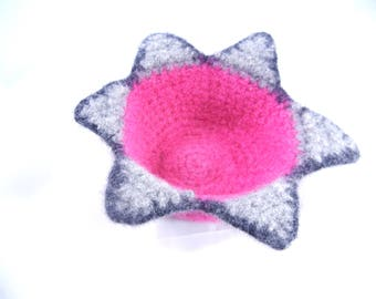 Felted Crochet Decorative Bowl Hot PInk Star
