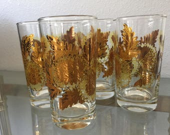 The Vintage Midcentury Gold Gilded Floral Embossed Set of 6 Water Glasses Tumbler