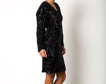 40% OFF The Pretty Woman Black Sequin Cocktail Long Sleeved Dress