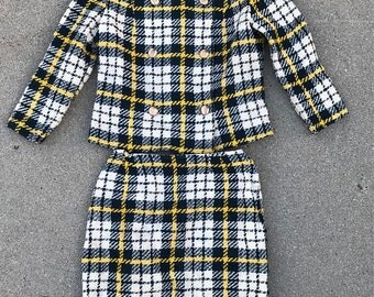 40% OFF The Vintage Navy and Yellow Plaid Roos Atkins Mid Century 1960s Jacket Skirt Femme Suit Set