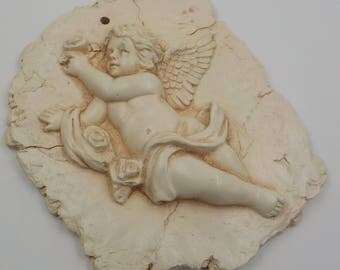 Cherub Wall Hanging - Cherub Wall Plaque - Small - 7 X 5 - Adorable - Ceramic - Shabby Cottage