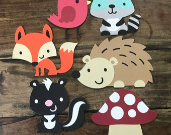 6 Woodland Creature Diecuts Party Decor 6""