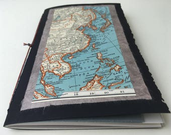 Map notebook etsy asia map notebook with multimedia paper blank chapbook simple softcover sketchbook travel journal gumiabroncs Gallery