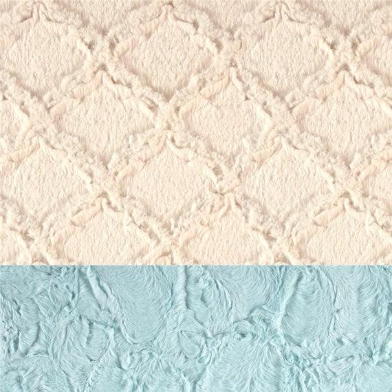 Minky Adult Blanket, Blue Ivory Blanket - Minky Throw - Twin Size // Lattice Blanket // Soft Blanket // Geometric Blanket // Sea Glass