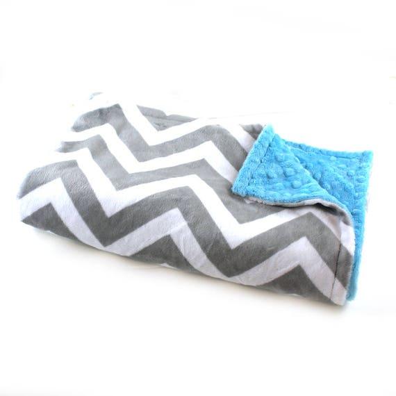 Gray Chevron Blanket / Minky Baby Blanket Boy, Blue Gray Chevron Blanket // 29 x 35 in Ready to Ship