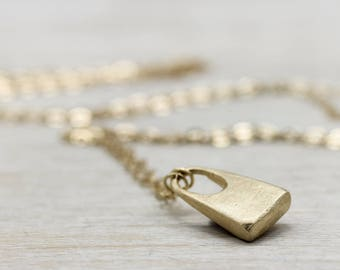 "Small Padlock Pendant Necklace - Matte 14k Yellow Gold - Made to Order Fine Jewelry, on a 16"", 18"", or 24"" chain - Minimal, Simple Necklace"