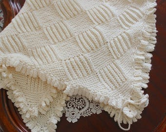 Ivory Knit Baby Girl Blanket with Knit Edge Border, Shower Gift, Travel/Stroller Blanket, Car seat cover, Crib Nursery, car seat tent canopy