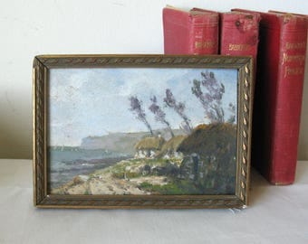 Antique French Impressionistic Miniature Village by the Sea Seascape Oil Painting, Listed French Artist
