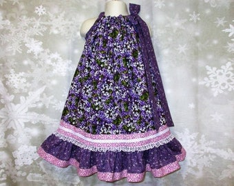 Girls Dress 4T/5 Purple White Flower Pillowcase Dress, Pillow Case Dress, Sundress, Boutique Dress