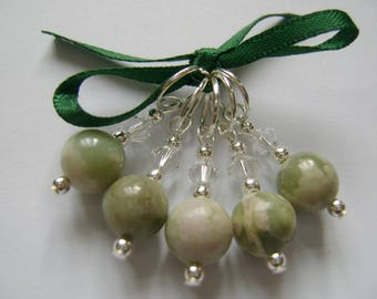 Peace Jade Gemstone Stitch Markers for Knitting or Crochet