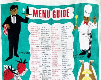 Tea Towel French English Menu Guide Ulster Linen Textile Lobster Fish Waiter Chef