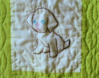 Antique Baby Quilt Hand Embroidered Baby Animals Newborn Gift 40s to 50s Green and White Vintage From Nowvintage on Etsy