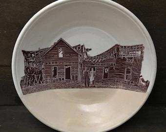 Prairie Farm Ceramic Plate - HAND MADE Cream on Vintage White Stoneware