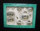 RESERVED 4 BARBARA Kitty Cucumber Child's Tea Set 1987 Teapot sugar creamer cups saucers