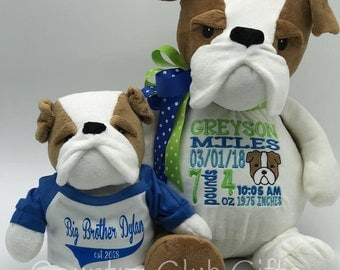 Bulldog,Personalized baby gift,stuffed animal, Easter Basket,baby boy gift,baby shower gift,adoption gift,baby girl gift,cuddle pal