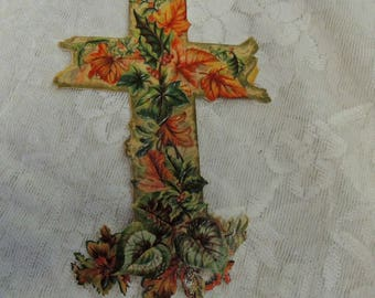Large Die Cut Cross, Paper Ephemera, Vintage Ephemera, Vintage Die Cut, Foliage Covered Cross, Religious Die Cut