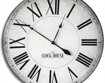 Large Wall Clock 36in CAMBRIDGE LINEN, Hand Painted Custom Clock, Free Inscription-jennifer braddy