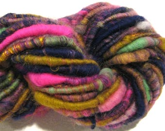 Bulky Handspun yarn Fun Home 46yards pink navy blue gold rainbow yarn corespun yarn knitting supplies crochet supplies Waldorf doll hair