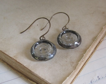 Clear Glass Button Earrings Upcycled Jewelry