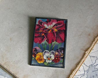 Pansy Flower Antique Seed Catalog Pin Glitter Glass Jewelry