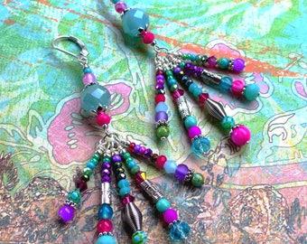 Precious Gipsy . Boucles d'oreilles uniques bohèmes argent 925 mint fuchsia agate verre cristal design original Tikaille