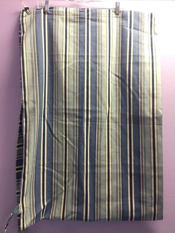 Personalized Blue and Brown Striped Laundry Bag