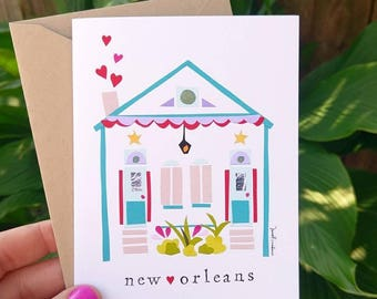 New Orleans House Greeting Card, Single Card or Boxed Set of Cards,  Nola House, Shotgun Double Blank Greeting Cards