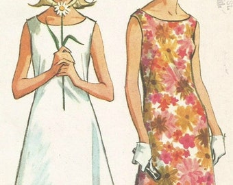 ChristmasinJuly Vintage 60s McCalls 7815 UNCUT Misses Sleeveless Shift Dress Sewing Pattern Size 12 Bust 32