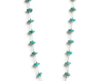 Faux Turquoise Nugget Necklace Silver Tone Southwestern Style 24 Inches Vintage