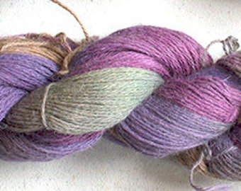 Alpaca Cotton Lace, Hand Painted yarn, 300yds - Vineyard