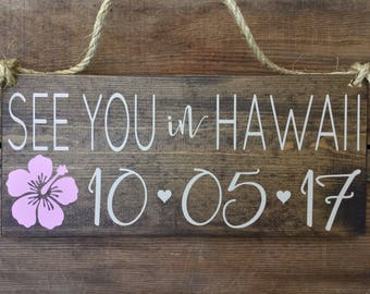 SaVe THe DaTe SiGn - Engagement Photos Sign - See You In CABO - Calligraphy Lettering - RuSTic WeDDing SiGn - Dark Stain Wood Sign - 15 x 7