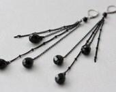 Black Onyx, Long Earrings, Goth Weddings, Birthday Gift for Wife, for Daughter, for Sister, Black Teardrops Earrings, for Girlfriend, Bijoux