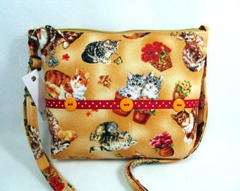 Kittens and Flowers Handmade Small Cross Body Purse