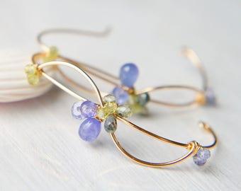 Tanzanite and Sapphire Earrings, Blue and Green Gemstone Earrings, Gold Large Hoop