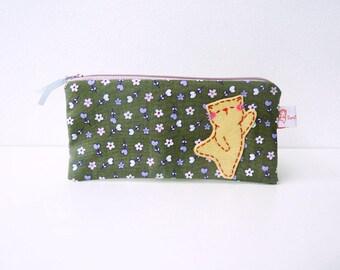 Pencil case, cat pencil case, cat cotton pouch, cute pencil case, pencil pouch, cosmetic pouch, zipper pouch, flower pouch, school supplies