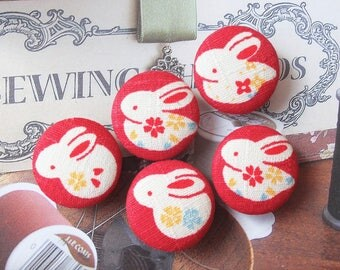 Japanese Traditional Holiday Cherry Blossom Floral Bunny Bunnies On Kimono Red-Handmade Fabric Covered Buttons(0.98 Inches, 5PCS)