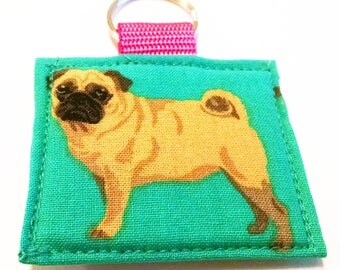 Fabric Pug Dog Keychain