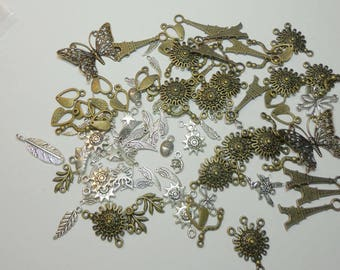 CLOSEOUT SALE Assorted Brass, Silver Charms and Connectors, Jewelry Findings, Wholesale Charms