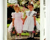 Girls' Dress and Pinafore - McCalls 8697 - Vintage Uncut Designer Sewing Pattern, Sizes 6, 7, and 9