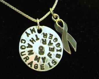 Courage Awareness necklace, Gray Awareness Ribbon necklace, Brain Cancer Awareness Necklace, Brain Tumor Awareness necklace, gifts for her