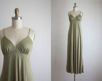 1970s olive gold ombre maxi dress