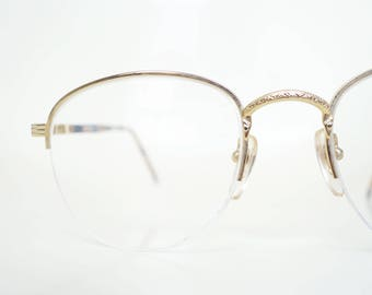1980s Round Glasses Womens Gold Wire Rim Frames Deadstock Vintage 80s Geek Chic Nerdy Sexy Librarian Eighties Classic NOS